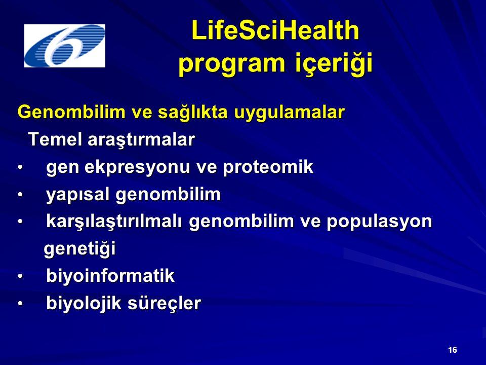 16 LifeSciHealth program içeriği Genombilim ve sağlıkta uygulamalar Temel araştırmalar Temel araştırmalar gen ekpresyonu ve proteomik gen ekpresyonu ve proteomik yapısal genombilim yapısal genombilim karşılaştırılmalı genombilim ve populasyon karşılaştırılmalı genombilim ve populasyon genetiği genetiği biyoinformatik biyoinformatik biyolojik süreçler biyolojik süreçler
