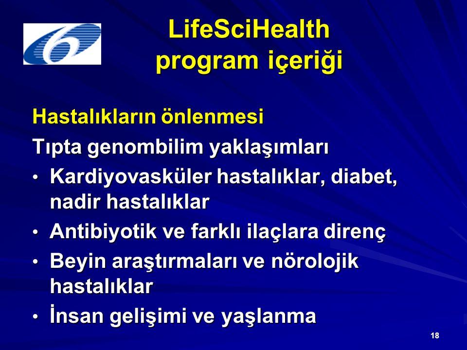18 LifeSciHealth program içeriği Hastalıkların önlenmesi Tıpta genombilim yaklaşımları Kardiyovasküler hastalıklar, diabet, nadir hastalıklar Kardiyovasküler hastalıklar, diabet, nadir hastalıklar Antibiyotik ve farklı ilaçlara direnç Antibiyotik ve farklı ilaçlara direnç Beyin araştırmaları ve nörolojik hastalıklar Beyin araştırmaları ve nörolojik hastalıklar İnsan gelişimi ve yaşlanma İnsan gelişimi ve yaşlanma