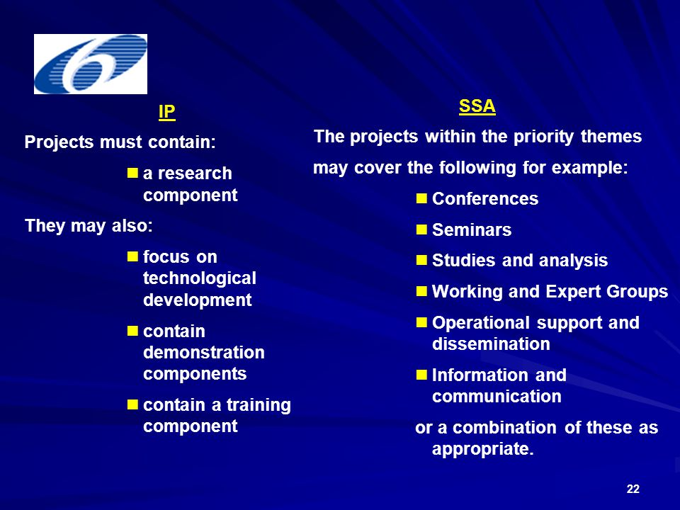 22 IP Projects must contain: a research component They may also: focus on technological development contain demonstration components contain a training component SSA The projects within the priority themes may cover the following for example: Conferences Seminars Studies and analysis Working and Expert Groups Operational support and dissemination Information and communication or a combination of these as appropriate.