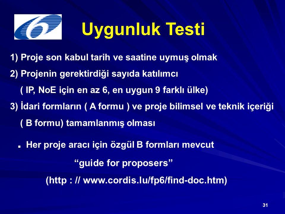 31 Uygunluk Testi 1) Proje son kabul tarih ve saatine uymuş olmak 2) Projenin gerektirdiği sayıda katılımcı ( IP, NoE için en az 6, en uygun 9 farklı ülke) 3) İdari formların ( A formu ) ve proje bilimsel ve teknik içeriği ( B formu) tamamlanmış olması.