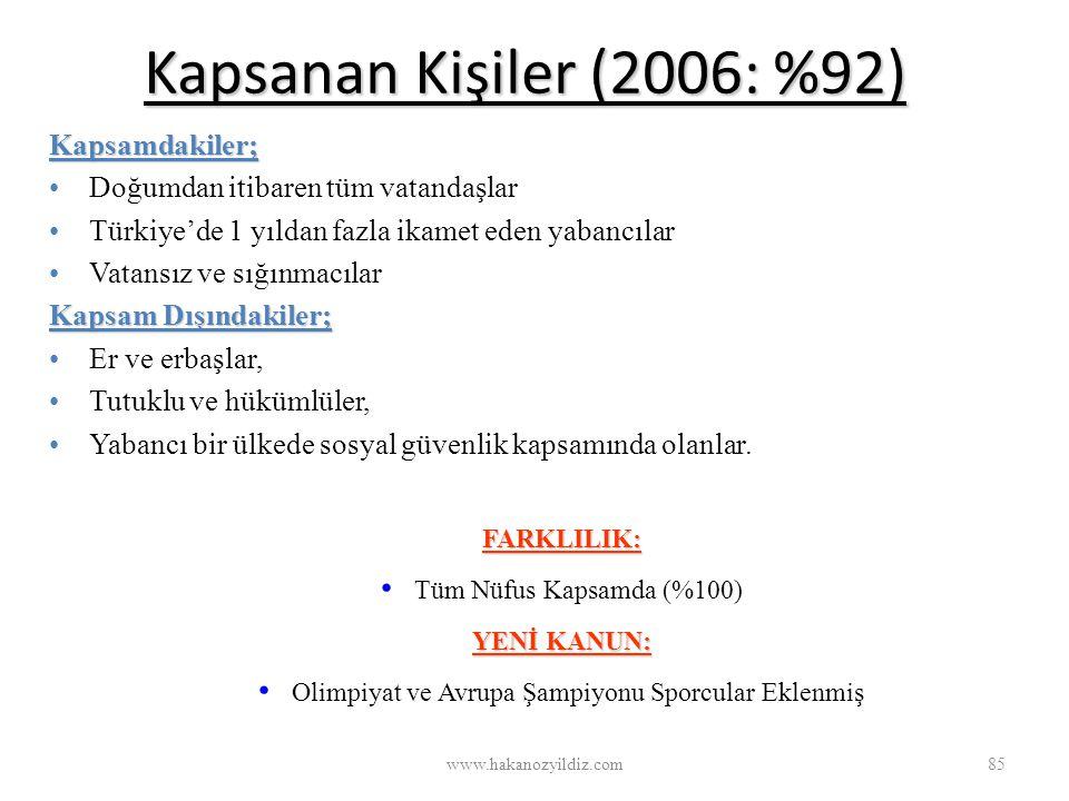Kapsanan Kişiler (2006: %92) www.hakanozyildiz.com85 Kapsamdakiler; Doğumdan itibaren tüm vatandaşlar Türkiye'de 1 yıldan fazla ikamet eden yabancılar