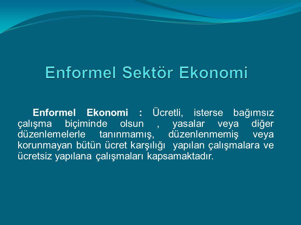 Enformel Ekonomi : Ücretli, isterse bağımsız çalışma biçiminde olsun, yasalar veya diğer düzenlemelerle tanınmamış, düzenlenmemiş veya korunmayan bütü