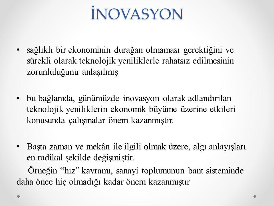 İNOVASYON sağlıklı bir ekonominin durağan olmaması gerektiğini ve sürekli olarak teknolojik yeniliklerle rahatsız edilmesinin zorunluluğunu anlaşılmış bu bağlamda, günümüzde inovasyon olarak adlandırılan teknolojik yeniliklerin ekonomik büyüme üzerine etkileri konusunda çalışmalar önem kazanmıştır.