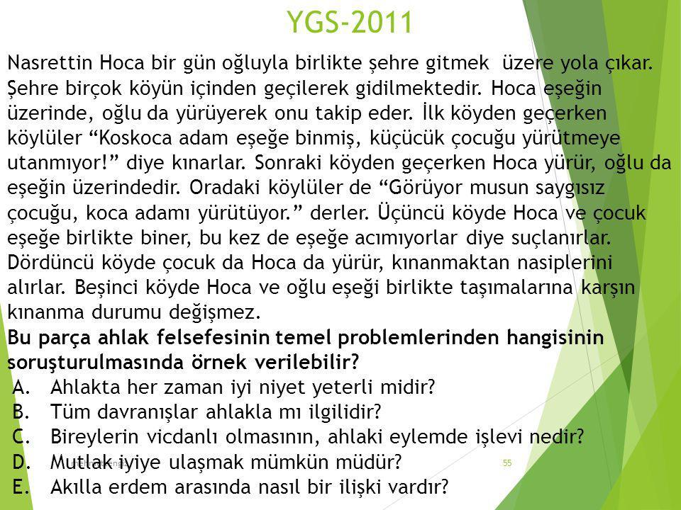YGS-2011 mehmetcengiz55 Nasrettin Hoca bir gün oğluyla birlikte şehre gitmek üzere yola çıkar. Şehre birçok köyün içinden geçilerek gidilmektedir. Hoc