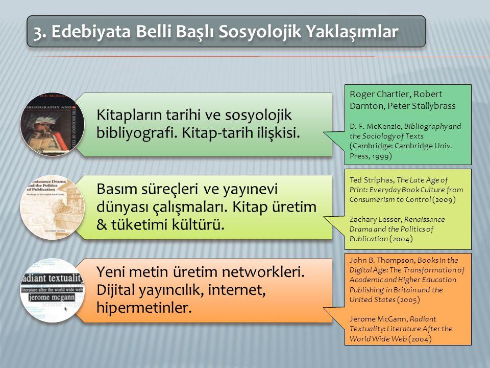 3.Edebiyata Belli Başlı Sosyolojik Yaklaşımlar Kitapların tarihi ve sosyolojik bibliyografi.