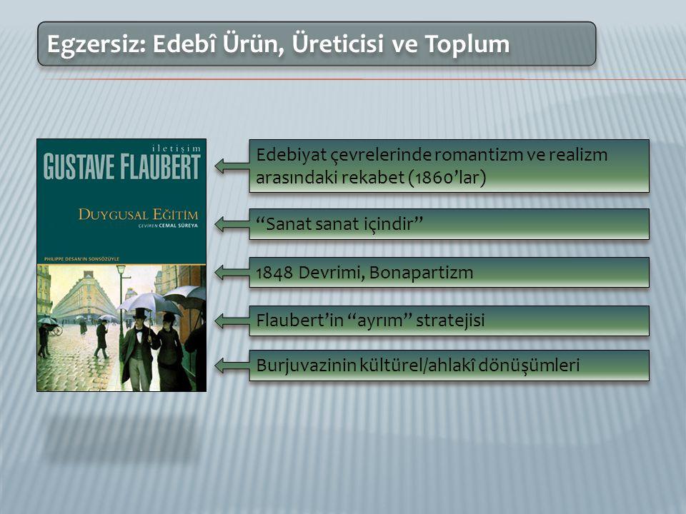 Egzersiz: Edebî Ürün, Üreticisi ve Toplum Türk milliyetçiliği, milli kimlik arayışı Züppelik hakkındaki önyargılar Özgürlük vs.