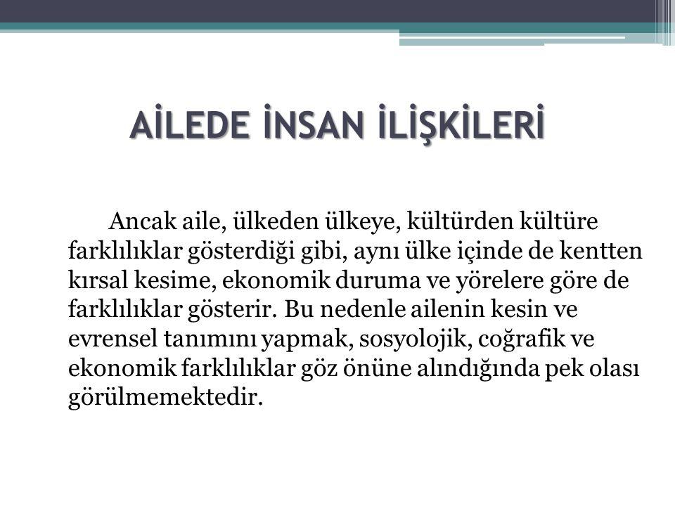 AİLEDE İNSAN İLİŞKİLERİ Prof.Dr.