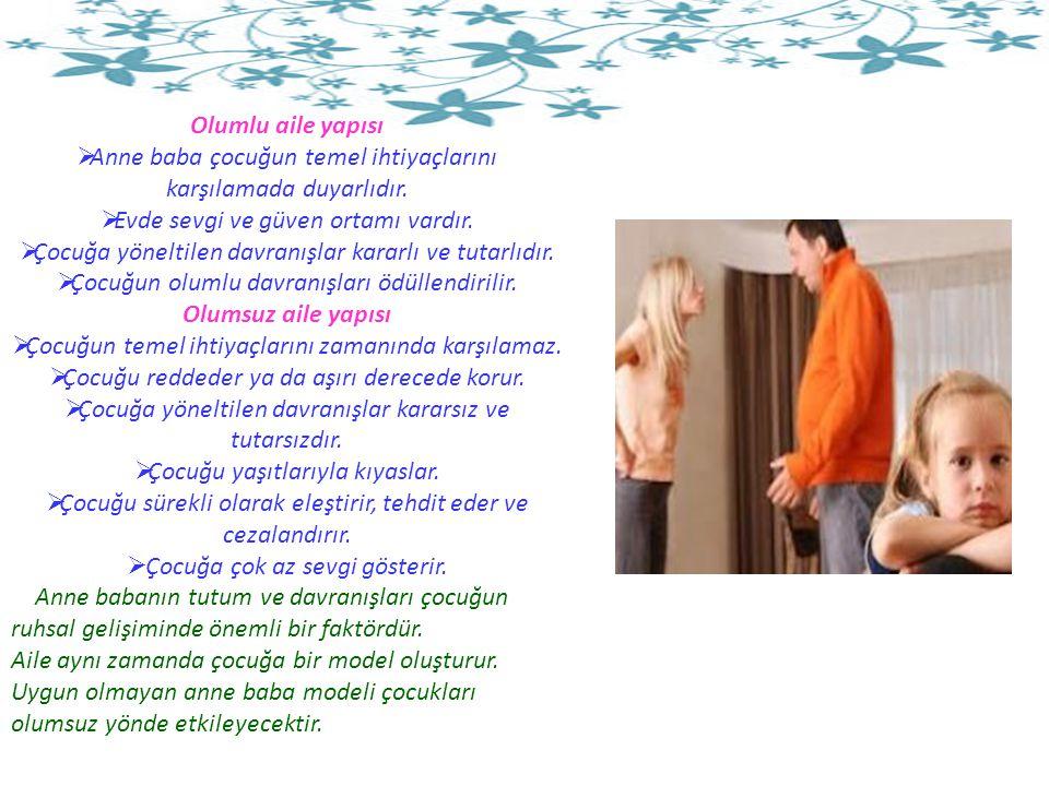 Olumlu aile yapısı  Anne baba çocuğun temel ihtiyaçlarını karşılamada duyarlıdır.