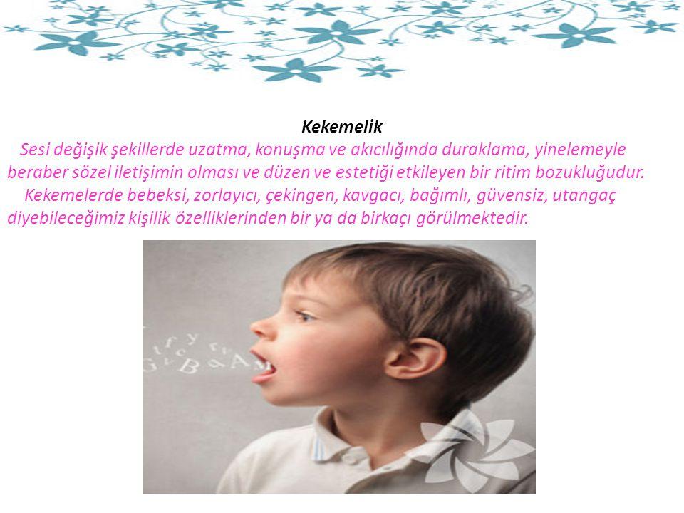 Kekemelik Sesi değişik şekillerde uzatma, konuşma ve akıcılığında duraklama, yinelemeyle beraber sözel iletişimin olması ve düzen ve estetiği etkileyen bir ritim bozukluğudur.