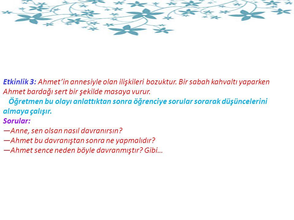 Etkinlik 3: Ahmet'in annesiyle olan ilişkileri bozuktur.