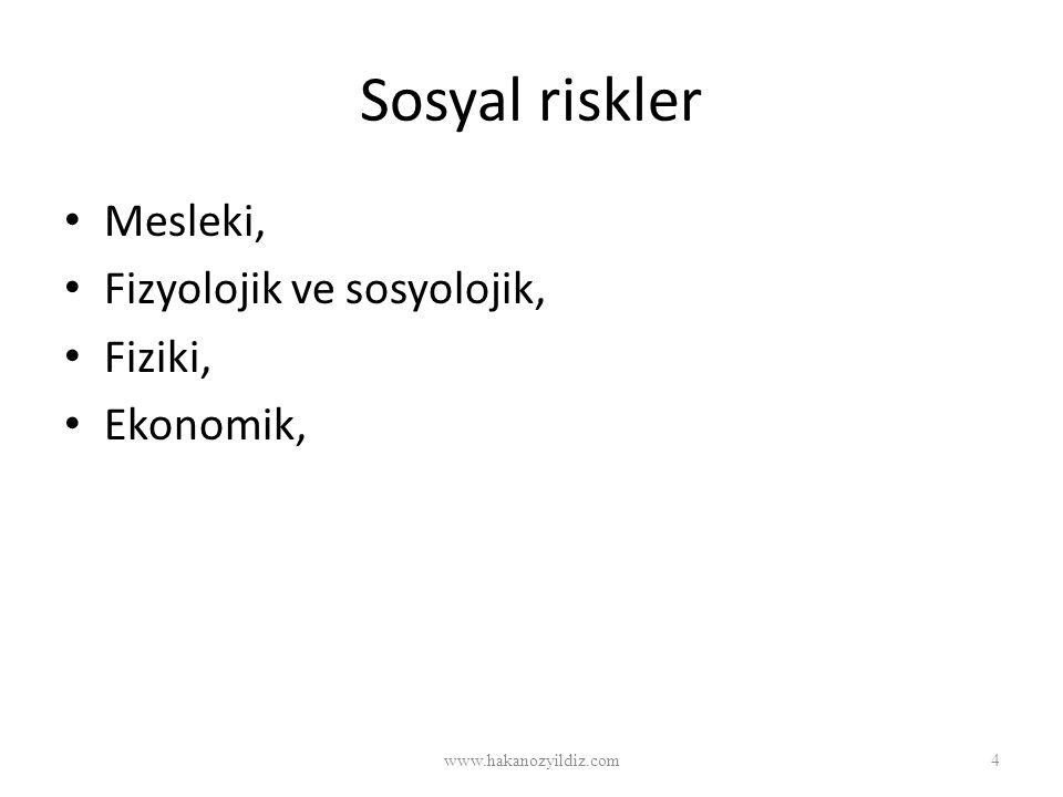 Sosyal riskler Mesleki, Fizyolojik ve sosyolojik, Fiziki, Ekonomik, www.hakanozyildiz.com4