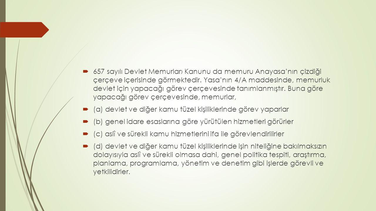 657 sayılı Yasa'ya göre, memurluğun üç niteliği vardır:  Memurlar, görevlerin gerektirdiği niteliklere ve mesleklere göre sınıflara ayrılır.
