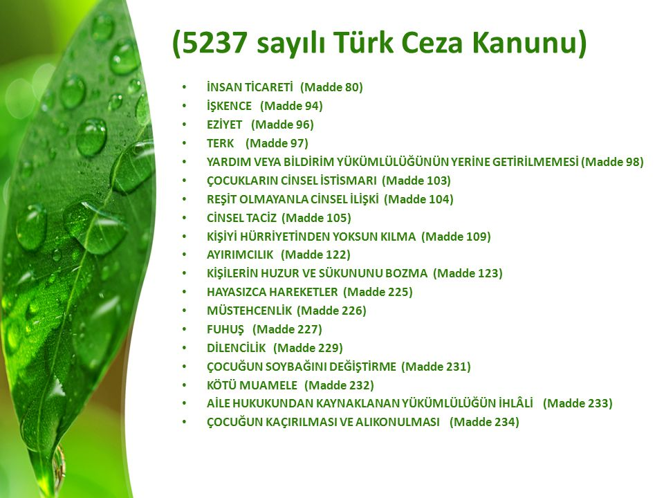 (5237 sayılı Türk Ceza Kanunu) İNSAN TİCARETİ (Madde 80) İŞKENCE (Madde 94) EZİYET (Madde 96) TERK (Madde 97) YARDIM VEYA BİLDİRİM YÜKÜMLÜLÜĞÜNÜN YERİNE GETİRİLMEMESİ (Madde 98) ÇOCUKLARIN CİNSEL İSTİSMARI (Madde 103) REŞİT OLMAYANLA CİNSEL İLİŞKİ (Madde 104) CİNSEL TACİZ (Madde 105) KİŞİYİ HÜRRİYETİNDEN YOKSUN KILMA (Madde 109) AYIRIMCILIK (Madde 122) KİŞİLERİN HUZUR VE SÜKUNUNU BOZMA (Madde 123) HAYASIZCA HAREKETLER (Madde 225) MÜSTEHCENLİK (Madde 226) FUHUŞ (Madde 227) DİLENCİLİK (Madde 229) ÇOCUĞUN SOYBAĞINI DEĞİŞTİRME (Madde 231) KÖTÜ MUAMELE (Madde 232) AİLE HUKUKUNDAN KAYNAKLANAN YÜKÜMLÜLÜĞÜN İHLÂLİ (Madde 233) ÇOCUĞUN KAÇIRILMASI VE ALIKONULMASI (Madde 234)