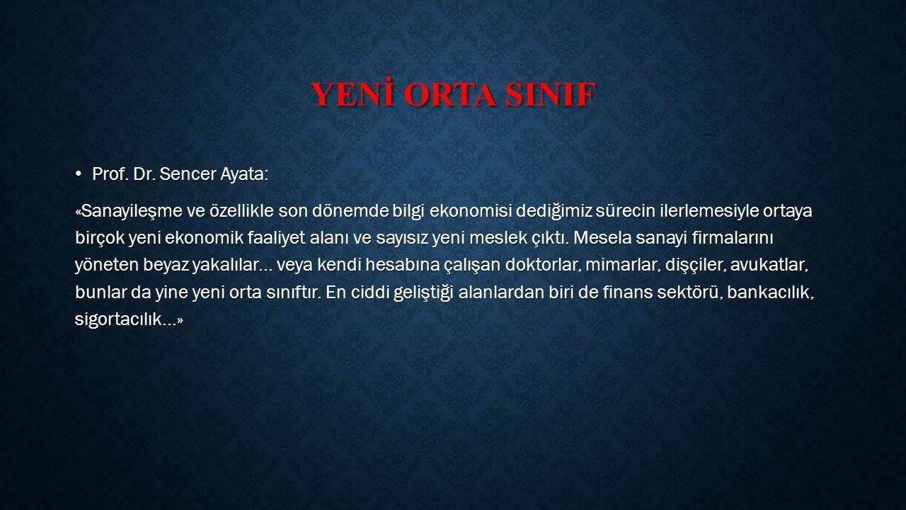 YENİ ORTA SINIF Prof.Dr. Sencer Ayata: Prof. Dr.