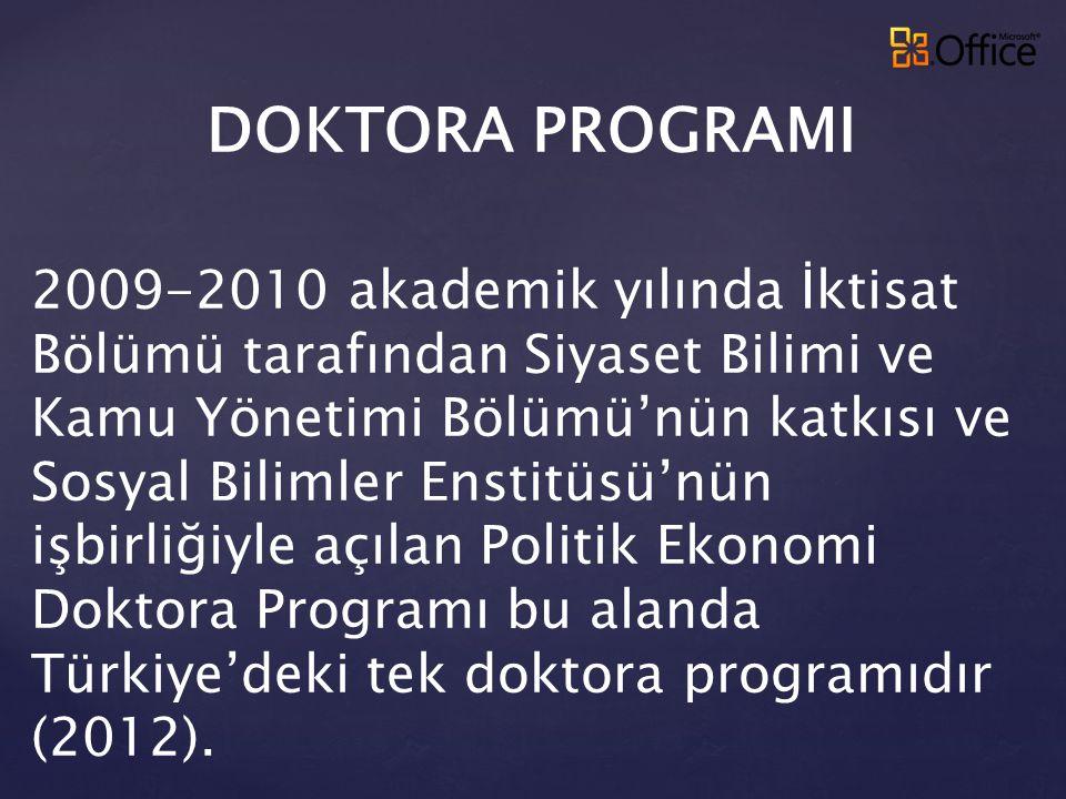 DOKTORA PROGRAMI 2009-2010 akademik yılında İktisat Bölümü tarafından Siyaset Bilimi ve Kamu Yönetimi Bölümü'nün katkısı ve Sosyal Bilimler Enstitüsü'