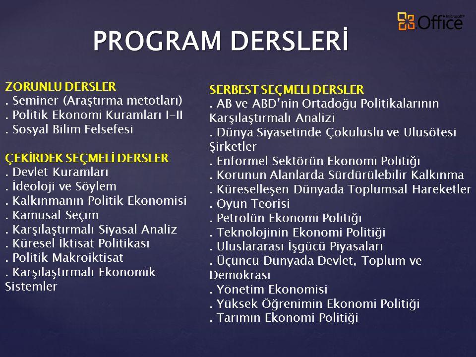 PROGRAM DERSLERİ ZORUNLU DERSLER. Seminer (Araştırma metotları). Politik Ekonomi Kuramları I-II. Sosyal Bilim Felsefesi ÇEKİRDEK SEÇMELİ DERSLER. Devl