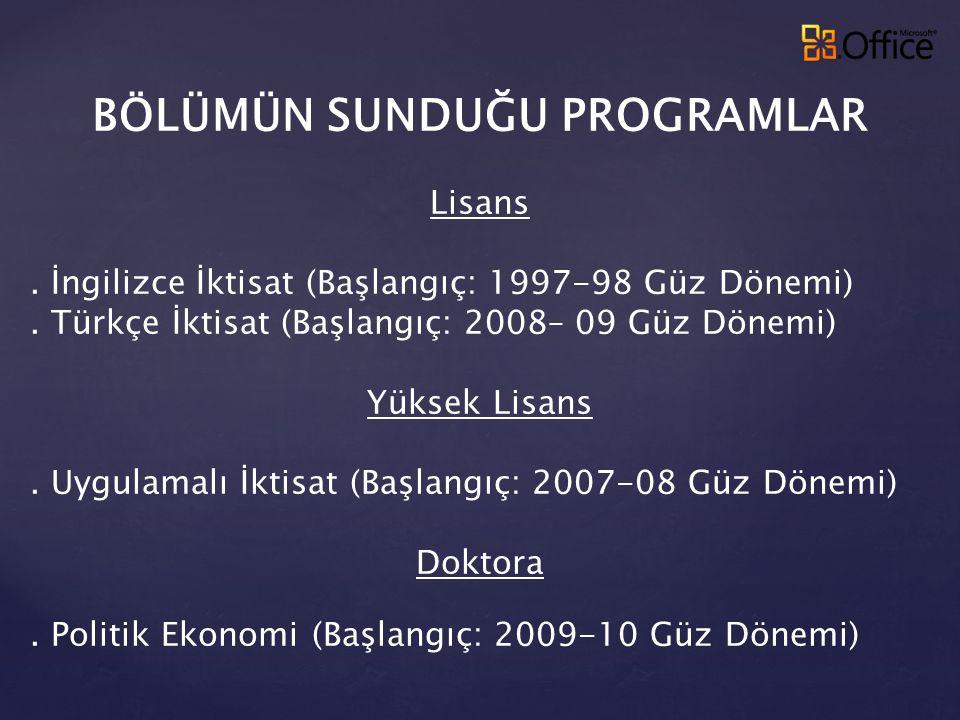 BÖLÜMÜN SUNDUĞU PROGRAMLAR Lisans. İngilizce İktisat (Başlangıç: 1997-98 Güz Dönemi). Türkçe İktisat (Başlangıç: 2008– 09 Güz Dönemi) Yüksek Lisans. U
