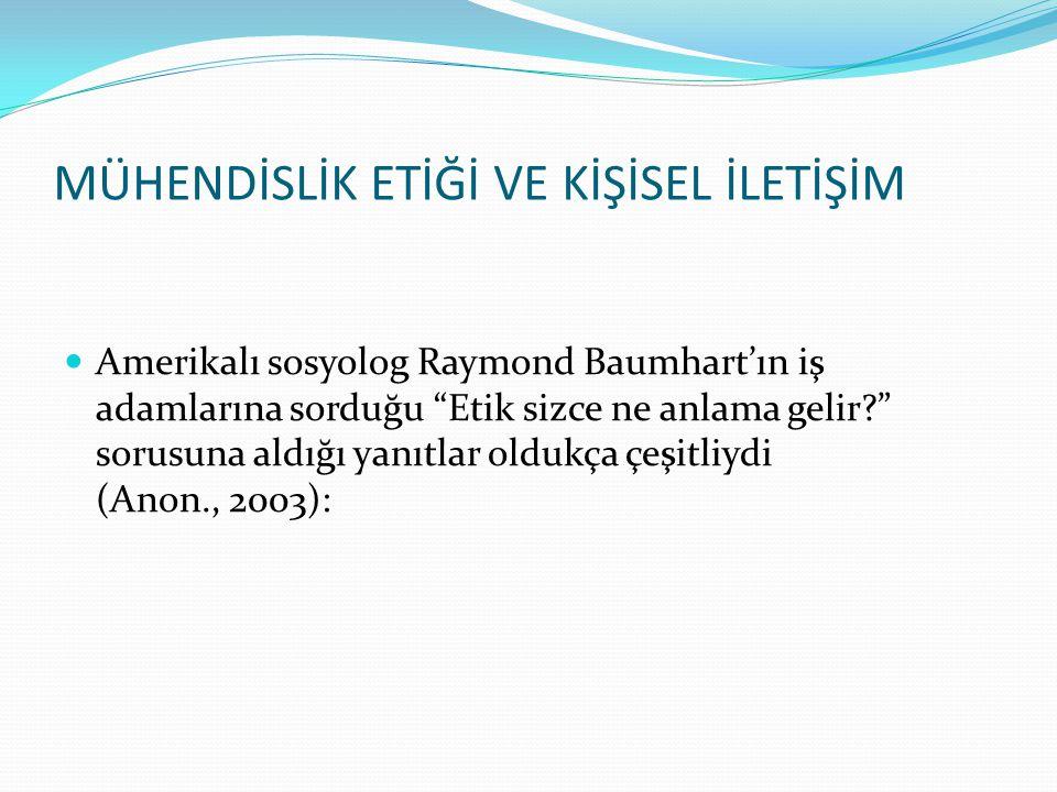 Amerikalı sosyolog Raymond Baumhart'ın iş adamlarına sorduğu Etik sizce ne anlama gelir? sorusuna aldığı yanıtlar oldukça çeşitliydi (Anon., 2003): MÜHENDİSLİK ETİĞİ VE KİŞİSEL İLETİŞİM