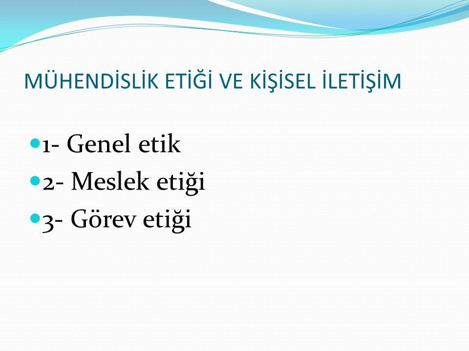 1- Genel etik 2- Meslek etiği 3- Görev etiği MÜHENDİSLİK ETİĞİ VE KİŞİSEL İLETİŞİM