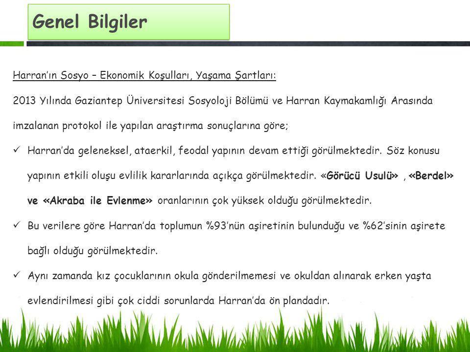 Genel Bilgiler Harran'ın Sosyo – Ekonomik Koşulları, Yaşama Şartları: 2013 Yılında Gaziantep Üniversitesi Sosyoloji Bölümü ve Harran Kaymakamlığı Aras