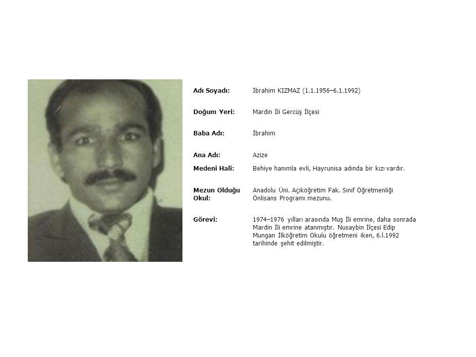 Adı Soyadı:Hüseyin YAVUZ (28.07.1967–22.10.1993) Doğum Yeri:Konya ili Bozkır ilçesi Pabuçlar Beldesi Baba Adı:Durmuş Ali Ana Adı:Memnune Medeni Hali:B