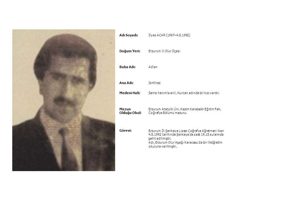 Adı Soyadı:İbrahim KIZMAZ (1.1.1956–6.1.1992) Doğum Yeri:Mardin İli Gercüş İlçesi Baba Adı:İbrahim Ana Adı:Azize Medeni Hali:Behiye hanımla evli, Hayr