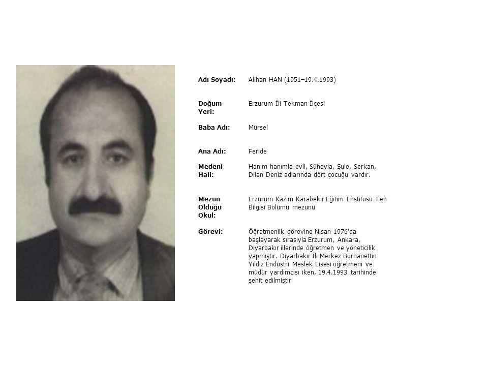 Adı Soyadı:Ali BULUT (26.1.1967–11.10.1994) Doğum Yeri: Trabzon İli Of İlçesi Baba Adı:Cemal Ana Adı:Gülizar Medeni Hali: Bekâr Mezun Olduğu Okul: Kar
