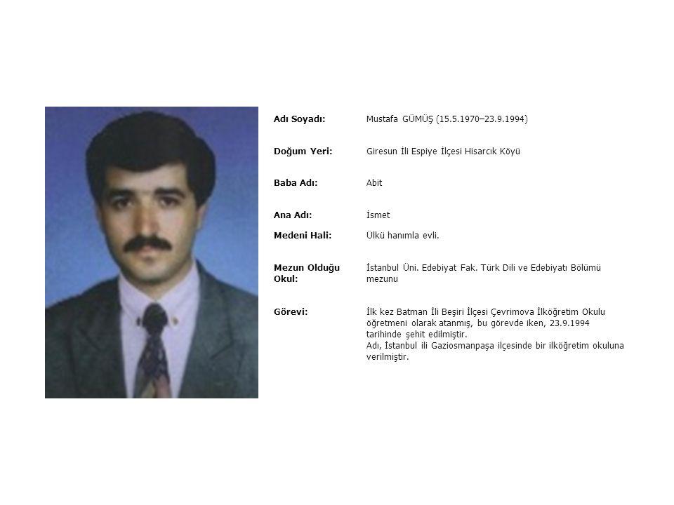Adı Soyadı:Mustafa BOZ (06.11.1966 – 22.02.1994) Doğum Yeri:Balıkesir İli Bandırma İlçesi Baba Adı:İsmail Ana Adı:Müberra Medeni Hali:Arzu hanımla evl