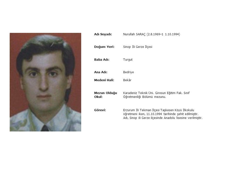 Adı Soyadı:Nuriye AK (5.4.1968–11.6.1993) Doğum Yeri:Çanakkale İli Gelibolu ilçesi Baba Adı:Salim Ana Adı:Nigar Medeni Hali:Bekâr Mezun Olduğu Okul: U