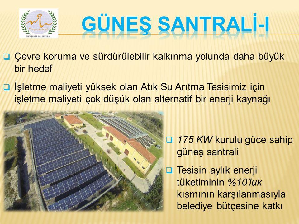 Çevre koruma ve sürdürülebilir kalkınma yolunda daha büyük bir hedef  İşletme maliyeti yüksek olan Atık Su Arıtma Tesisimiz için işletme maliyeti çok düşük olan alternatif bir enerji kaynağı  175 KW kurulu güce sahip güneş santrali  Tesisin aylık enerji tüketiminin %10'luk kısmının karşılanmasıyla belediye bütçesine katkı