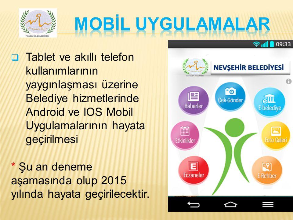  Tablet ve akıllı telefon kullanımlarının yaygınlaşması üzerine Belediye hizmetlerinde Android ve IOS Mobil Uygulamalarının hayata geçirilmesi * Şu an deneme aşamasında olup 2015 yılında hayata geçirilecektir.
