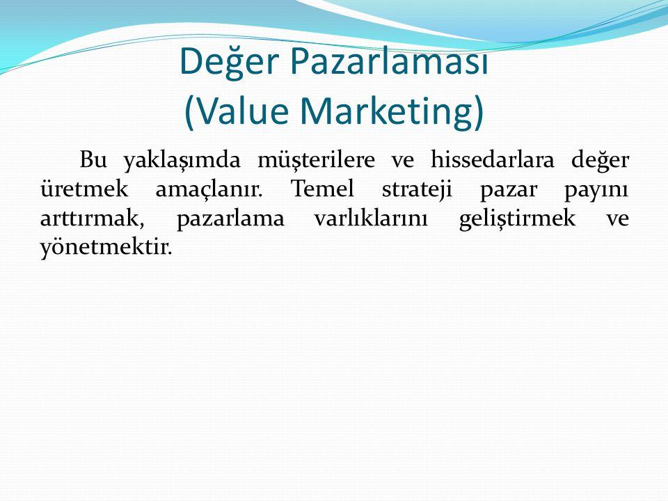 Değer Pazarlaması (Value Marketing) Bu yaklaşımda müşterilere ve hissedarlara değer üretmek amaçlanır.