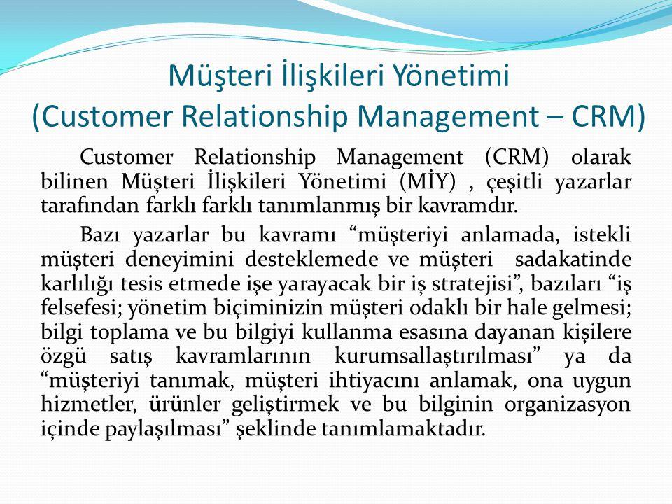 Müşteri İlişkileri Yönetimi (Customer Relationship Management – CRM) Customer Relationship Management (CRM) olarak bilinen Müşteri İlişkileri Yönetimi (MİY), çeşitli yazarlar tarafından farklı farklı tanımlanmış bir kavramdır.