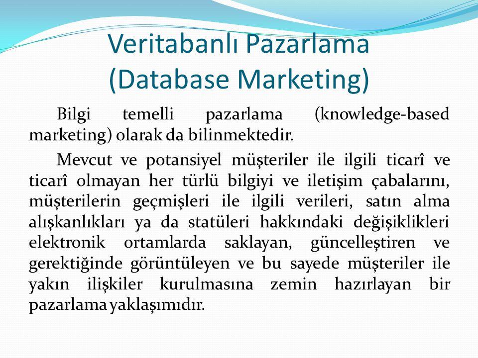 Veritabanlı Pazarlama (Database Marketing) Bilgi temelli pazarlama (knowledge-based marketing) olarak da bilinmektedir.
