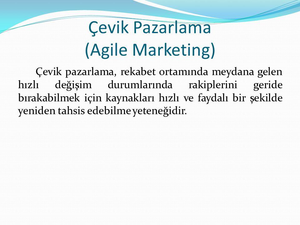 Çevik Pazarlama (Agile Marketing) Çevik pazarlama, rekabet ortamında meydana gelen hızlı değişim durumlarında rakiplerini geride bırakabilmek için kaynakları hızlı ve faydalı bir şekilde yeniden tahsis edebilme yeteneğidir.