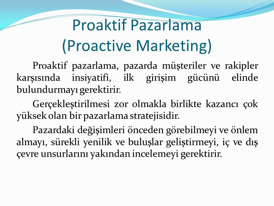 Proaktif Pazarlama (Proactive Marketing) Proaktif pazarlama, pazarda müşteriler ve rakipler karşısında insiyatifi, ilk girişim gücünü elinde bulundurmayı gerektirir.