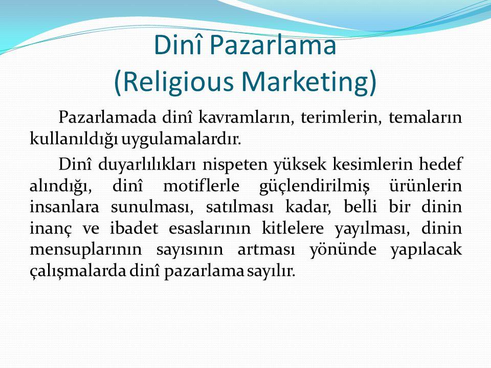 Dinî Pazarlama (Religious Marketing) Pazarlamada dinî kavramların, terimlerin, temaların kullanıldığı uygulamalardır.