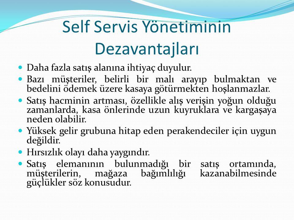 Self Servis Yönetiminin Dezavantajları Daha fazla satış alanına ihtiyaç duyulur.
