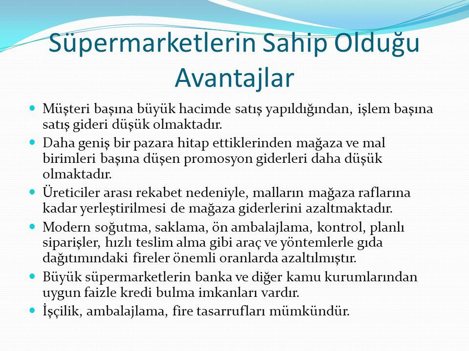 Süpermarketlerin Sahip Olduğu Avantajlar Müşteri başına büyük hacimde satış yapıldığından, işlem başına satış gideri düşük olmaktadır.