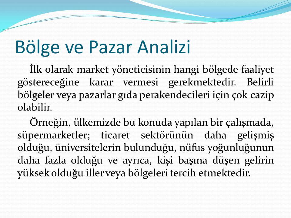 Bölge ve Pazar Analizi İlk olarak market yöneticisinin hangi bölgede faaliyet göstereceğine karar vermesi gerekmektedir.
