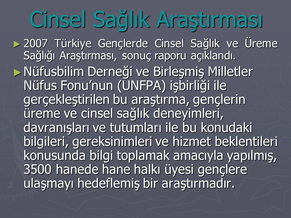 Cinsel Sağlık Araştırması ► 2007 Türkiye Gençlerde Cinsel Sağlık ve Üreme Sağlığı Araştırması, sonuç raporu açıklandı.
