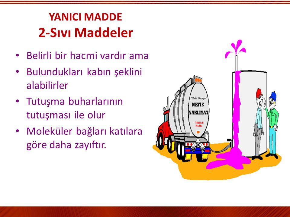 YANICI MADDE 1-Katı Maddeler Belirli bir hacim ve şekle sahip Moleküller arasında büyük çekim kuvveti var Tutuşma sıcaklıkları farklı Kaza ile tutuşma