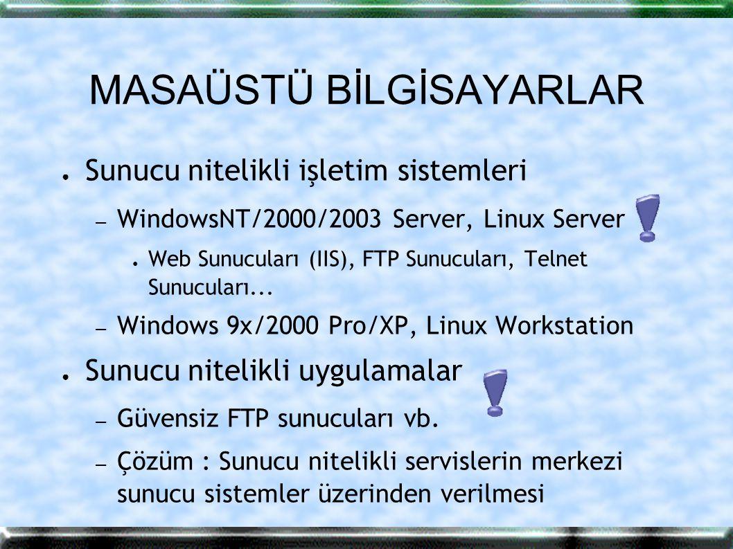 MASAÜSTÜ BİLGİSAYARLAR ● Sunucu nitelikli işletim sistemleri – WindowsNT/2000/2003 Server, Linux Server ● Web Sunucuları (IIS), FTP Sunucuları, Telnet