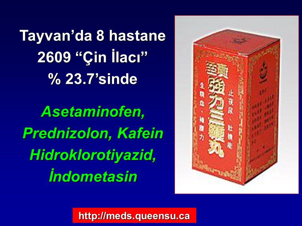 "Tayvan'da 8 hastane 2609 ""Çin İlacı"" % 23.7'sinde Asetaminofen, Prednizolon, Kafein Hidroklorotiyazid, İndometasin http://meds.queensu.ca"