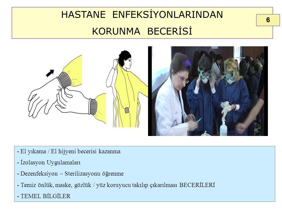 HASTANE ENFEKSİYONLARINDAN KORUNMA BECERİSİ - El yıkama / El hijyeni becerisi kazanma - İzolasyon Uygulamaları - Dezenfeksiyon – Sterilizasyonu öğrenm