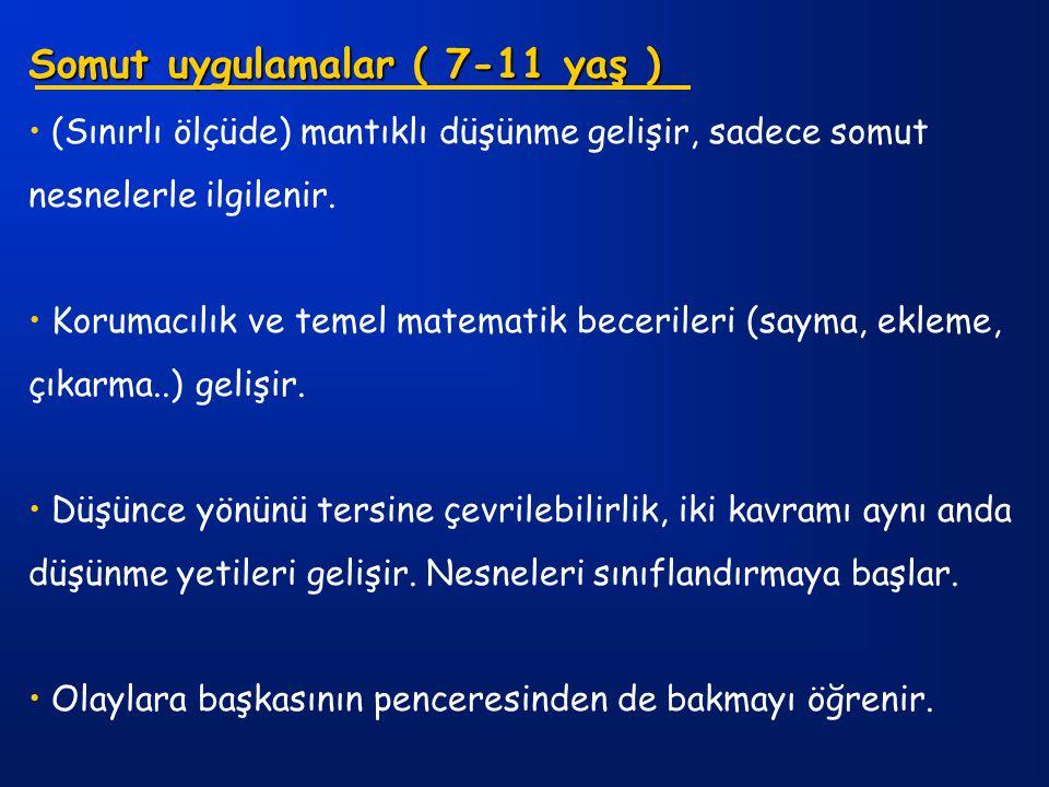 Somut uygulamalar ( 7-11 yaş ) (Sınırlı ölçüde) mantıklı düşünme gelişir, sadece somut nesnelerle ilgilenir. Korumacılık ve temel matematik becerileri