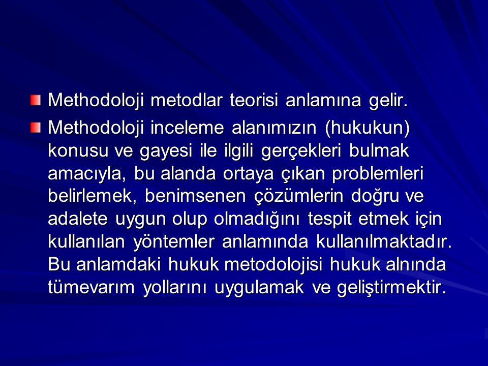 Methodoloji metodlar teorisi anlamına gelir. Methodoloji inceleme alanımızın (hukukun) konusu ve gayesi ile ilgili gerçekleri bulmak amacıyla, bu alan
