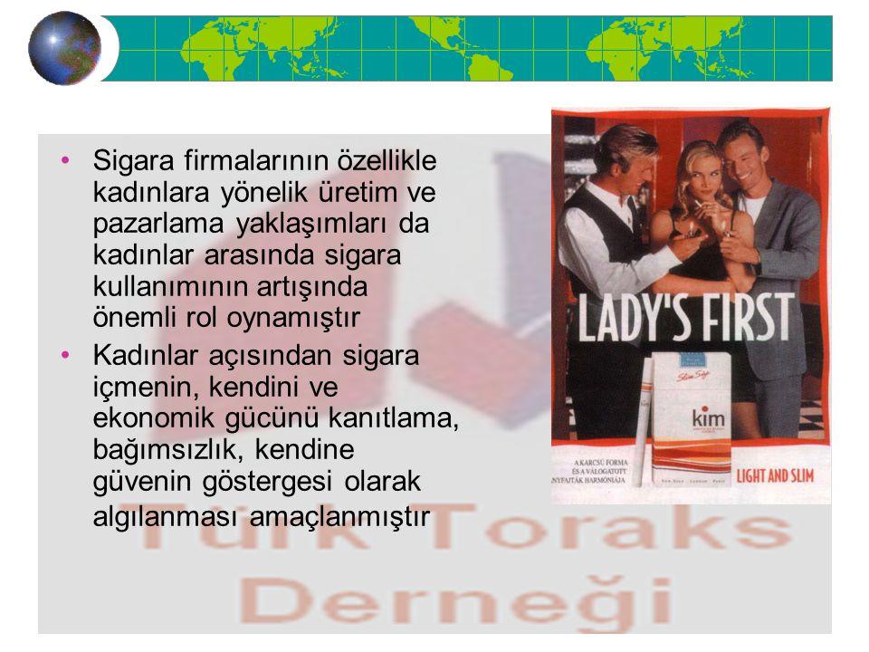 Sigara firmalarının özellikle kadınlara yönelik üretim ve pazarlama yaklaşımları da kadınlar arasında sigara kullanımının artışında önemli rol oynamış