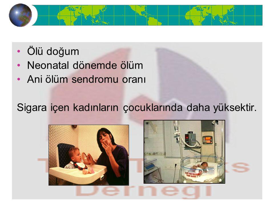 Ölü doğum Neonatal dönemde ölüm Ani ölüm sendromu oranı Sigara içen kadınların çocuklarında daha yüksektir.