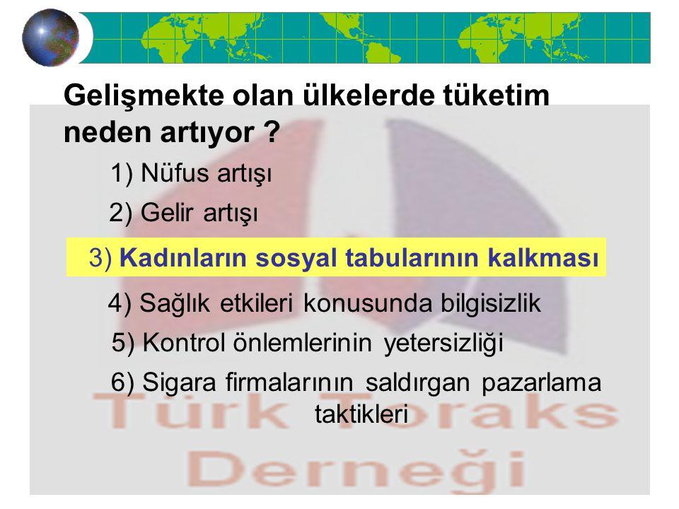 Gelişmekte olan ülkelerde tüketim neden artıyor ? 1) Nüfus artışı 2) Gelir artışı 3) Kadınların sosyal tabularının kalkması 4) Sağlık etkileri konusun